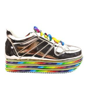Women's Rainbow Platform Rose Gold Fashion Sneaker